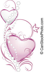 Shining silver and pink hearts with diamonds. Vector...
