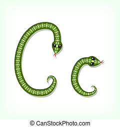 Snake font Letter C - Font made from green snake Letter C