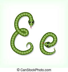 Snake font. Letter E - Font made from green snake. Letter E