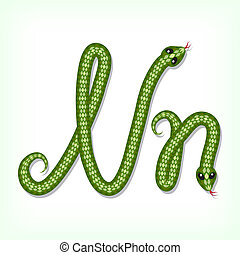 Snake font. Letter N - Font made from green snake. Letter N