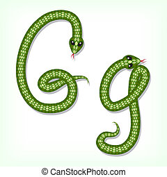 Snake font. Letter G - Font made from green snake. Letter G