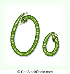Snake font. Letter O - Font made from green snake. Letter O