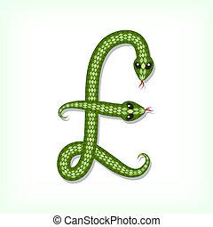 Snake font. Pound symbol - Font made from green snake. Pound...