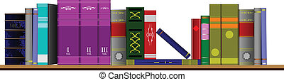 Vector illustration bookshelf library with old books