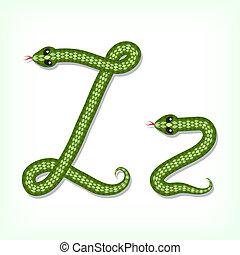 Snake font. Letter Z - Font made from green snake. Letter Z