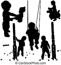 Childrens Silhouettes 01 - detailed black and white...