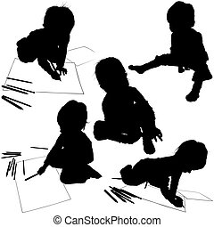 Childrens Silhouettes 04 - baby painter illustrations