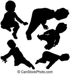 Childrens Silhouettes 05 - detailed black and white...