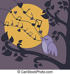 bird-singing - vector illustration of birds singing on a...