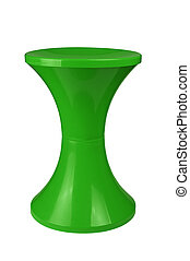 plastic stool - Green plastic stool isolated on white...