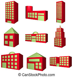 Building Architecture Set in 3d Red - A set of buildings...