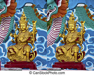 Stereo 3d photo of buddhism God in Thailands temple