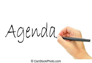 Agenda handwritten on a whiteboard