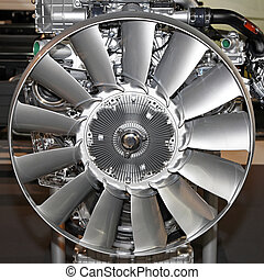 Engine fan - Silver cooling fan at big truck engine