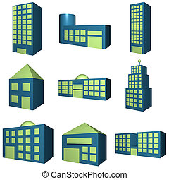 Buildings Icon Set in 3d - Buildings icon set in 3d blue and...