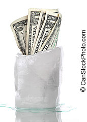 ice with frozen dollar banknotes on white background
