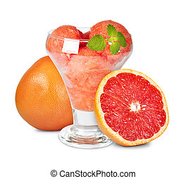 grapefruit sorbet - Fresh grapefruit sorbet isolated on...