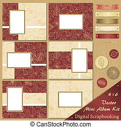 Vector Autumn Mini Album Kit - Retro frames and design...