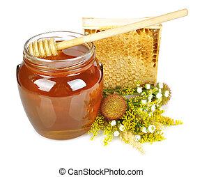miel, dulce, tarro, vidrio