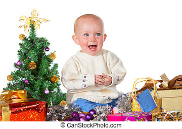 Laughing baby surrounded by Christmas gifts - Adorable...