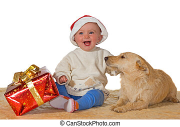 Merry baby enjoying Christmas with dog - Merry little baby...