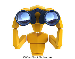 man looking through the binoculars - 3d symbolic man looking...