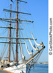 tall ship - Anchored tall ship in harbor of Oslo fjord,...
