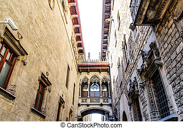neogothic bridge - Barcelona: neogothic bridge at Carrer del...