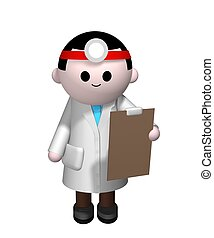 Doctor - 3D illustration of a Doctor holding a clipboard