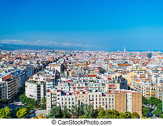 bird view barcelona - Top view on streets and houses of...