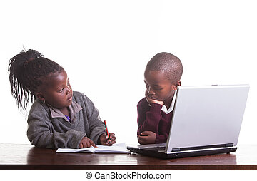 Study buddies - The towo children help each other.