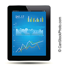 Financial Analysis data on a tablet Vector file