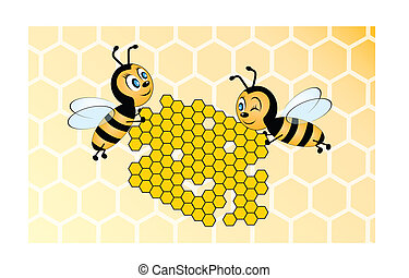 Two bees holding honeycomb on yello