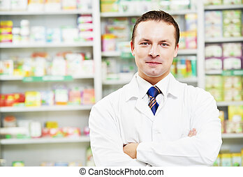 Confident pharmacy chemist man in drugstore - cheerful...