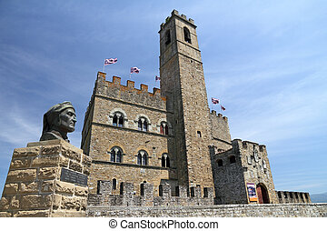 monument of Dante and Castle - Castello dei Conti Guidi in...