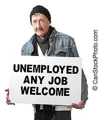 Jobless - An unemployed senior man advertises himself in an...