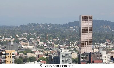 Portland Oregon Northwest Downtown Skyline Cityscape...