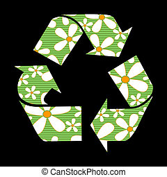 Recycle signs with flowers vector illustration