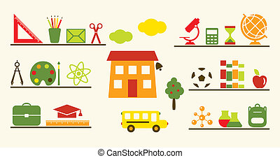 Multicolored school objects set.