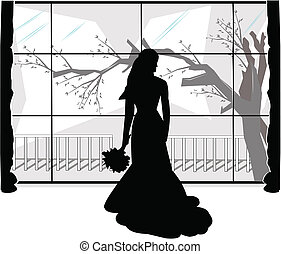 jilted bride on wedding day staring out window feeling sad
