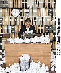 Female Author at a messy office