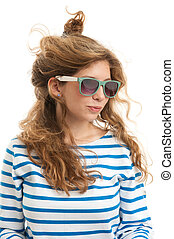 funny young woman in a sunglasses