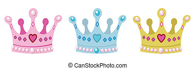 set crowns for princess, pink, blue and gold