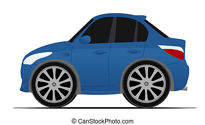 mini blue sport car, fast moving