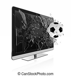 3D TV - 3D illustration of soccer ball breaking TV screen....