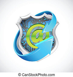 Antivirus Seal - illustration of antivirus shield with arrow...