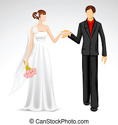 Married Couple - illustration of newly married couple in...