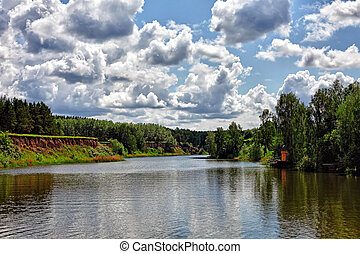 summer landscape - summer day landscape with river and...