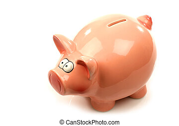 pink piggy bank - pink piggy bank on a white background