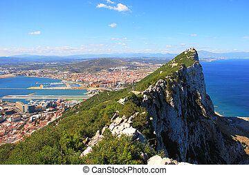 View of Gibraltar rock, bay, town